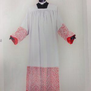 camice collo aperto terital lana pizzo alto fodera rossa