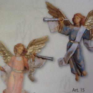 Angelo con tromba realizzato in resina colorato e rifinito a mano per presepe da 12 cm