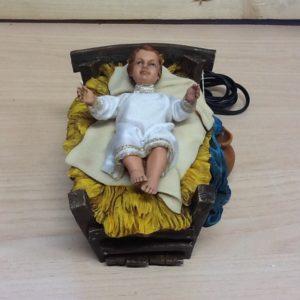 Bambin Gesù per natività cm.28 .in movimento,muove le braccia e alza il capo.rifinito a mano vestiti in stoffa