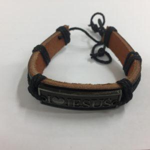 braccialetto in cuoio con laccio regolatore più placca I love jesus