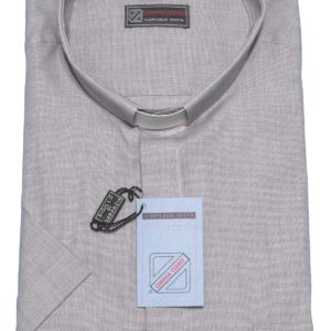 camicia clergiman 100%cotone fil a fil m/l o m/m grigio perla