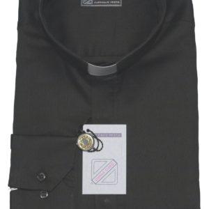 camicia clergiman 100%puro cotone fil a fil nero m/l