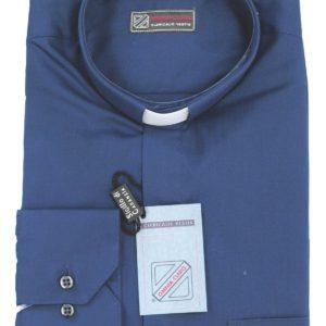 camicia clergiman terital cotone manica lunga o media blu