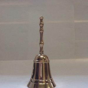 Campanello liturgico un suono con battacchio realizzato in ottone dorato diametro cm.6 h.cm.15
