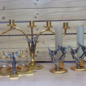 Candeliere 5 fiamme,2 candelieri 1 fiamma più servizio ampolle realizzato in metallo,ottone dorato,argentato con angeli