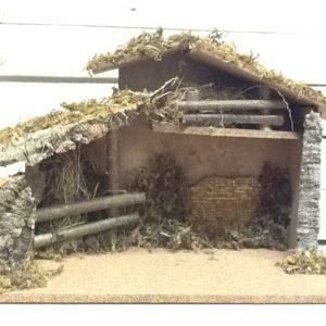 capanna in sughero,legno rifinita a mano cm.50x24x34h