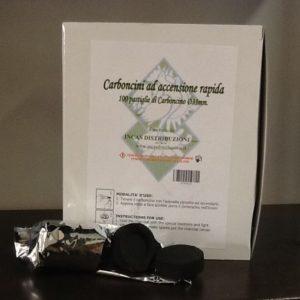 Carboncini per incenso,turibolo ad accensione rapida confezione da 100 pezzi diametro 33 mm.