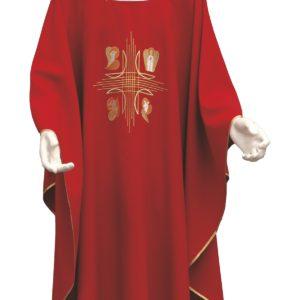 casula 4 evangelisti ricamo diretto 100%poliestere rosso