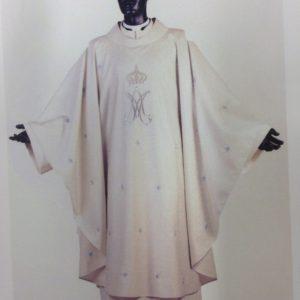 casula mariana 100%pura lana ricamo argento bianca
