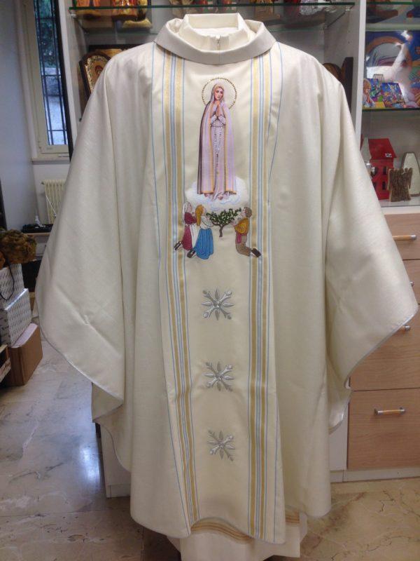 casula rigata bianca Madonna di Fatima 30%seta 70%lana ricamata
