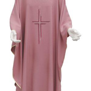 casula rosa croce rigata ricamo diretto 100%poliestere