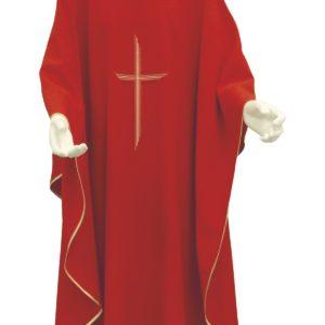 casula rossa croce rigata ricamo diretto 100%poliestere