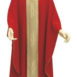 casula rossa stolone con croci poliestere