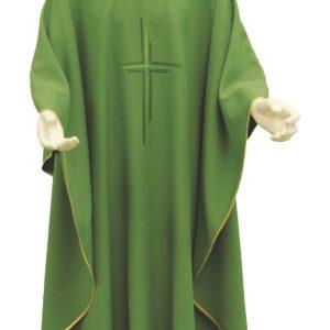casula verde croce rigata ricamo diretto 100%poliestere