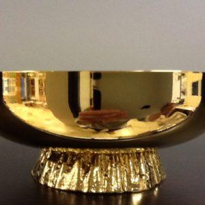 Ciotola offerto risale con piede metallo dorato h.cm4.5 diametro cm.12