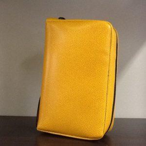 Custodia Liturgia Della ore 4 volumi in pelle di colore giallo cm.18x11x5