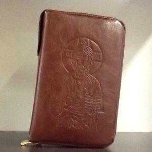 Custodia Liturgia Delle  ore 4 volumi in pelle marrone decorato davanti con   de Cristo e dietro Immagine Della Madonna  con Bambino cm.11.5x18,5x5,5