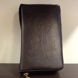 Custodia Liturgia Delle  ore 4 volumi in pelle nero decorato davanti con de Cristo e dietro Immagine Della Madonna  con Bambino cm.11.5x18,5x5,5