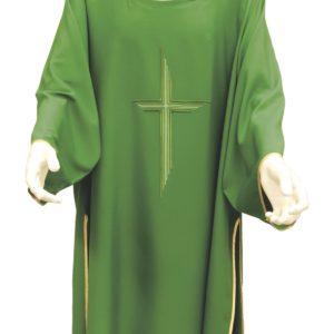 dalmatica verde ricamo croce righe 100%poliestere