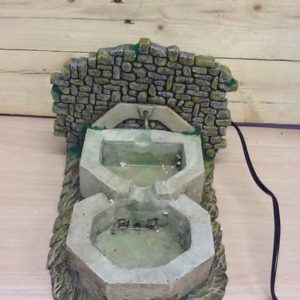 Fontana doppia con acqua corrente elettrica in resina cm.16x30x16h