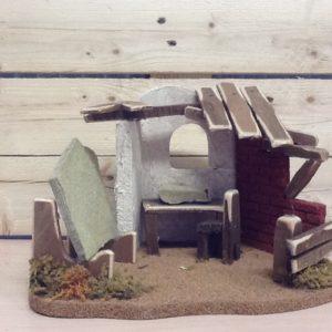 Fontanili casa del pietraio in sughero e resina colorato a mano cm.26.5x19x18h