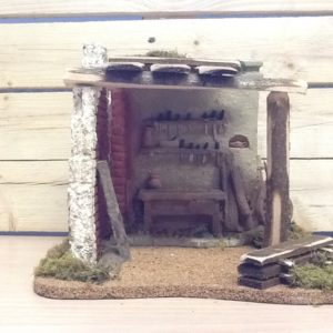 Fontanili casa falegname sughero e resina colorata a mano cm.24x26x21