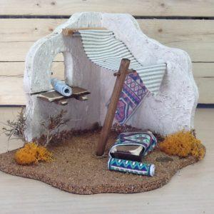 Fontanini tenda araba tappetaio in sughero e resina colorato a mano cm.28x20x19