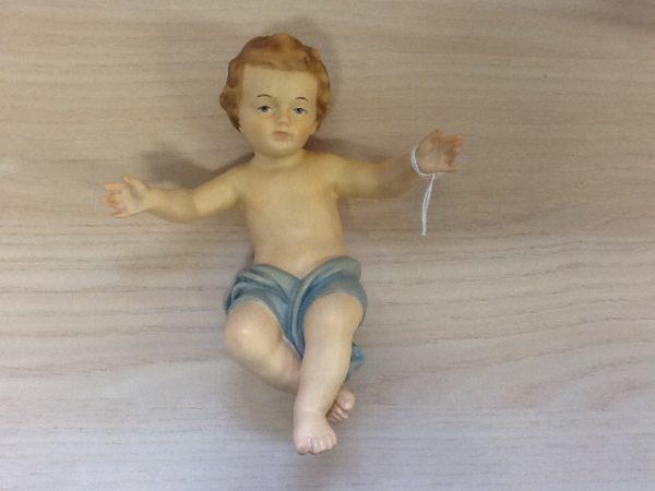 Gesù bambino Dolfi in legno della Val Gardena cm.20 cod. 16813 rifinito a manoGesu
