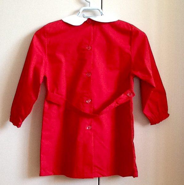 Grembiule per asilo di colore rosso,misto cotone di ottima fattura italiana Prima taglia,50