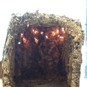 Grotta napoletana con luci in legno e sughero cm49x59x56h