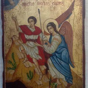 """Icona """"Angelo Custode"""" articolo numerato,realizzata a mano su legno ricoperto di lino e gesso,colori naturali e foglia d oro.cm.18x22"""