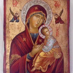 """Icona """" Beata Vergine del Perpetuo Soccorso"""" articolo numerato,realizzata a mano su tavola di legno ricoperta da lino e gesso,colori naturali e foglia oro,cm.18x22"""
