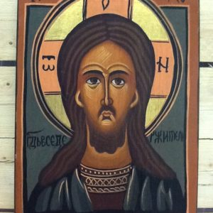 "Icona bizantina ""volto di Gesù"" su legno dipinta a mano cm.20.5x29.5h"