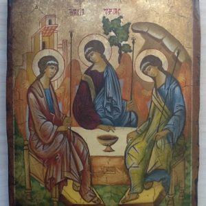 """Icona """"La Santa Trinità """" articolo numerato realizzato a mano su tavola di legno ricoperto di lino e gesso,colori naturali e foglia d oro.cm.18x22"""