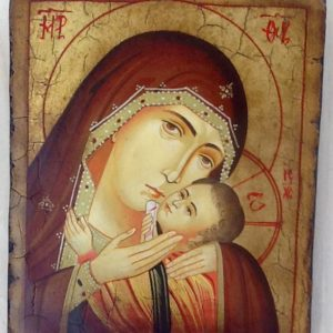 """Icona """" Madre di Dio della tenerezza di Korsun"""" articolo numerato realizzato a mano su tavola di legno ricoperta di lino e gesso,colori naturali e foglia oro.cm.18x22"""