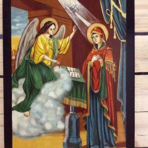 """Icona rumena """"Annunciazione""""realizzata a mano su legno pezzo unico cm.30x40h"""