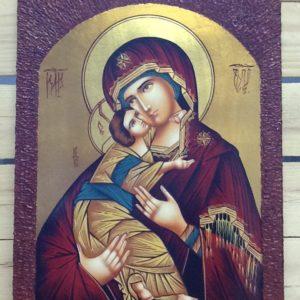 """Icona rumena """"Madonna Della Tenerezza Vladimirskaja"""" realizzata a Mano su legno pezzo unico  numerato cm.30x40h"""