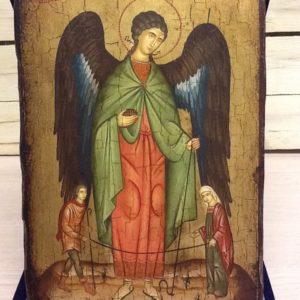 """Icona rumena per il matrimonio """"Arcangelo Raffaele con Tobia e Sara""""realizzata a Mano su legno pezzo numerato cm.22x32h"""