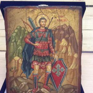 """Icona rumena """"San Maurizio"""" realizzata a Mano su legno pezzo numerato 18x22h"""