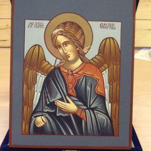 """Icona rumena""""Arcangelo Gabriele"""" realizzato a Mano su legno pezzo unico numerato cm.14x18h"""