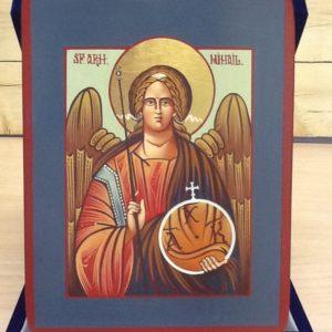 """Icona rumena""""Arcangelo Michele""""realizzato a Mano su legno pezzo unico numerato cm.14x18h"""