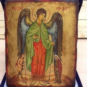 """Icona rumenaArcangelo Raffaele con Tobia e Sara""""realizzata a Mano su legno pezzo numerato cm.18x22h"""