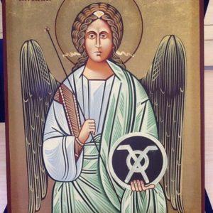 """Icona rumena""""Arcangelo Raffaele"""" realizzatoa Mano su legno pezzo unico numerato cm.18x22h"""