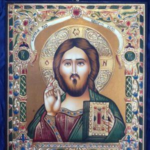 """Icona rumena""""Cristo il Salvatore""""realizzata a mano su legno pezzo unico numerato cm.24x28h"""