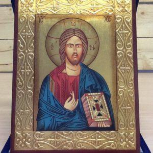 """Icona rumena""""Cristo Salvatore""""realizzata a Mano su legno pezzo unico numerato cm.14x18h"""