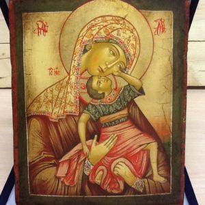 """Icona rumena""""gioco del Bambino""""realizzata a Mano su legno pezzo numerato cm.18x22h"""