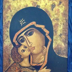 """Icona rumena""""Madonna Della Tenerezza Vladimirskaja""""realizzata a Mano pezzo unico numerato cm.31x40h"""
