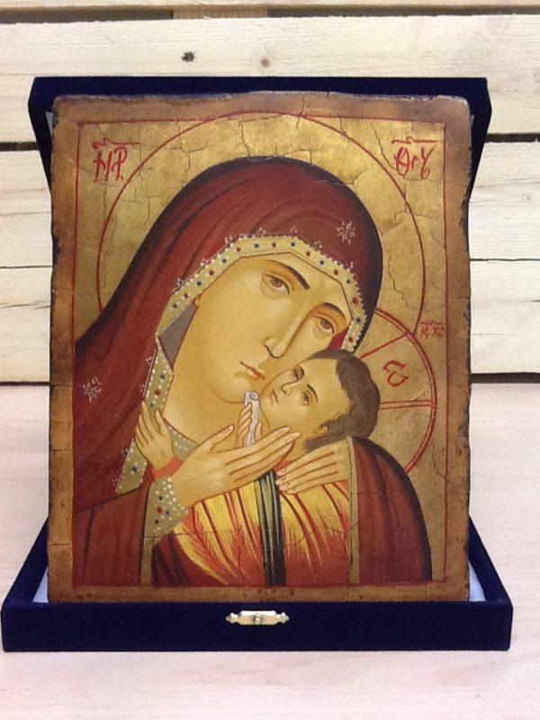 """Icona rumena""""Madre di Dio Della Tenerezza di Korsun"""" realizzata a Mano su legno pezzo numerato cm.18x22h"""