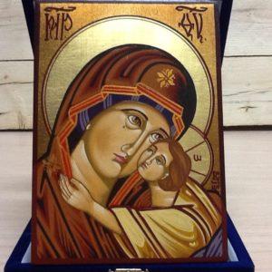 """Icona rumena""""Madre di Dio Tolgskaja"""" realizzata a Mano su legno pezzo numerato cm.10x14h"""