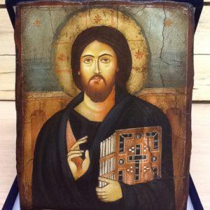 """Icona rumena""""Pantocratore""""monastero S.Caterina del Sinai realizzata a Mano su legno pezzo numerato cm.18x22h"""